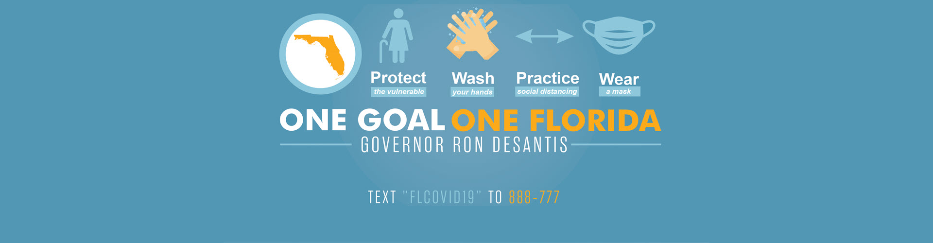 One Goal One Florida image - Protect the vulnerable - Wash your hands - Practice social distancing - Wear a mask