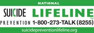 banner with the words National Suicide Prevention Lifeline call 1-800-273-8255
